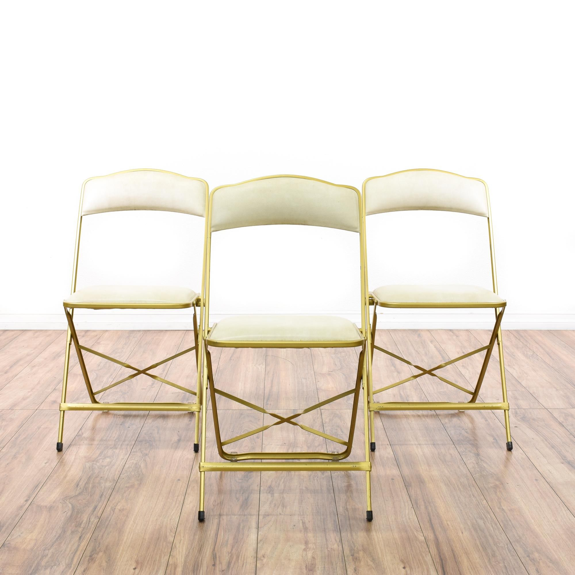 Set Of 3 Regency Gold Folding Chairs