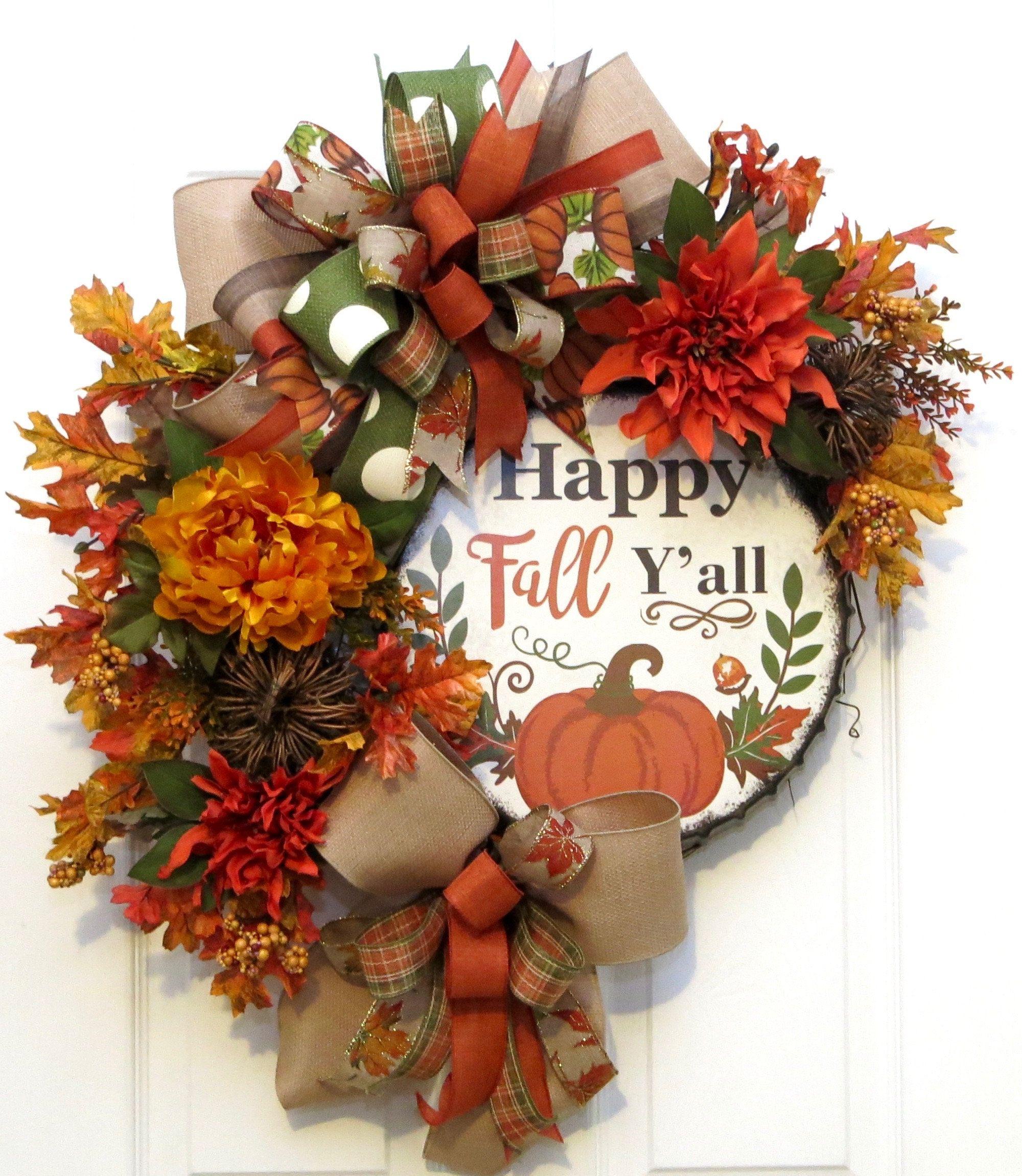 Fall Pumpkin Wreath Holiday Wreath Happy Fall Wreath Fall Pumpkin Decor Fall Decor Fall Wreath