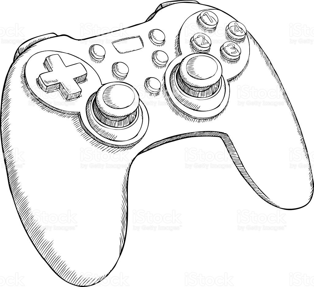 Black And White Sketch Style Gamepad On Transparent