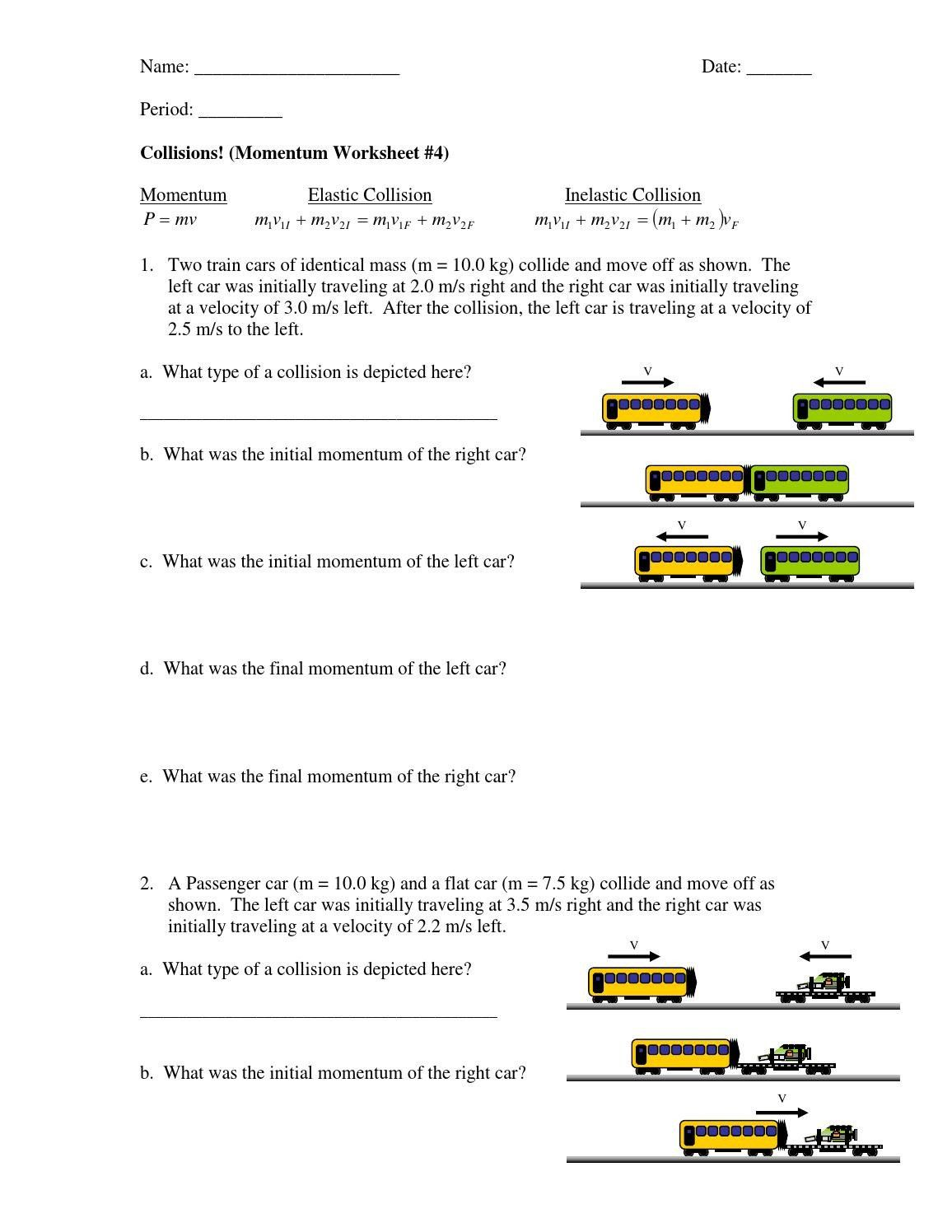 Momentum Worksheet Answers