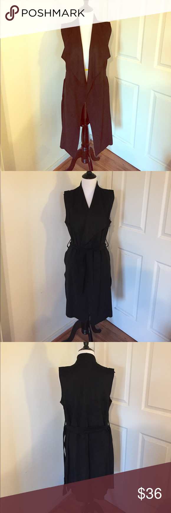 Nwt zara black ultrasuede vest zara black long black and zara jackets