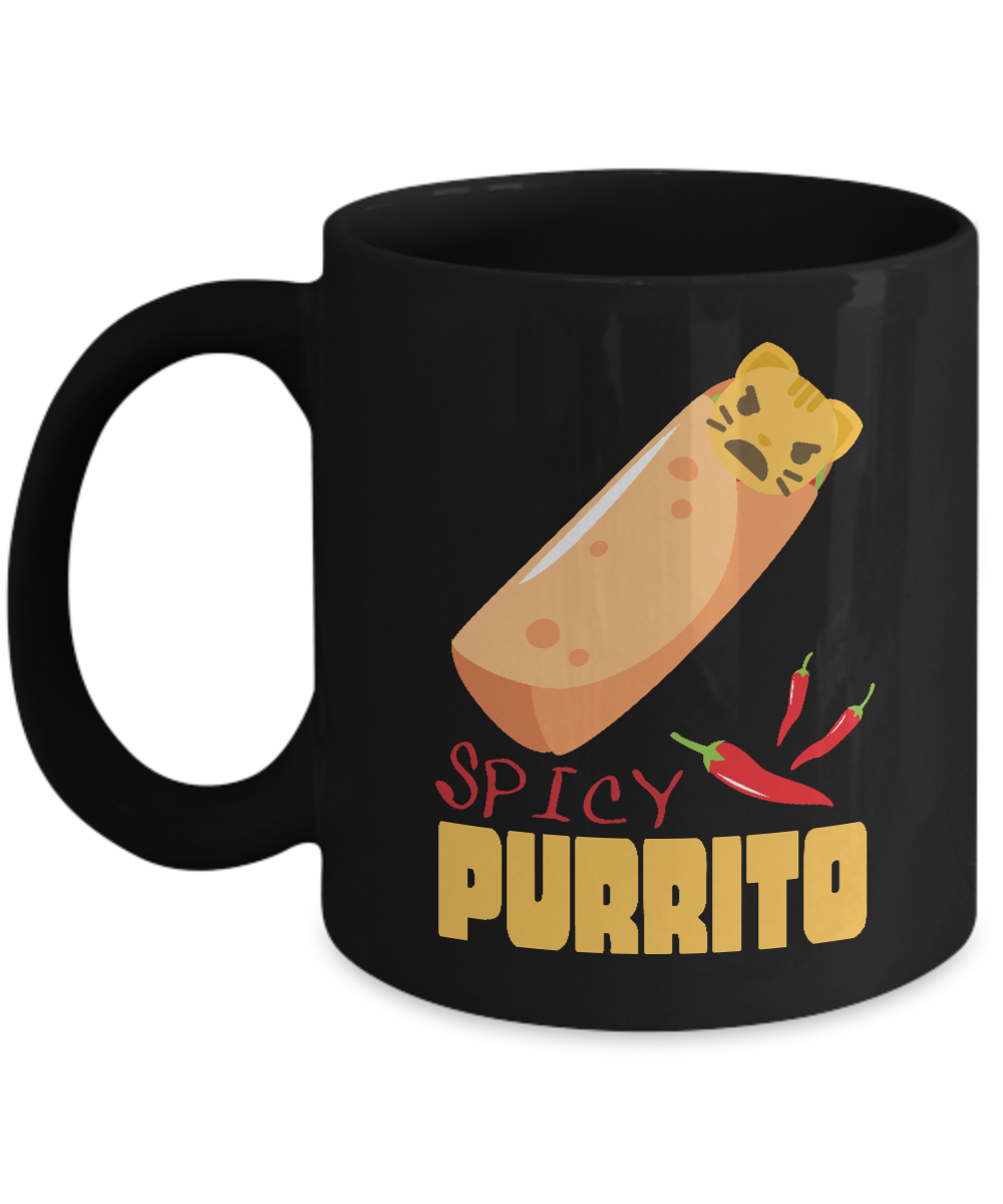 This Funny Design Features An Angry Cat In A Spicy Burrito Thus Spicy Purrito Get This Item If You Love Cats Burrito And Puns Mugs Angry Cat Spicy