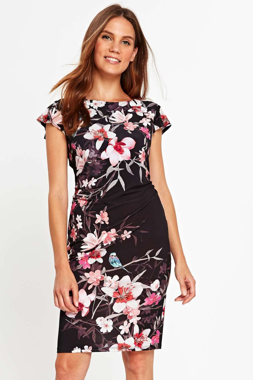 a8a0946b75f5 Black Oriental Print Frill Shift Dress | bandage ujjatlan ruhák ...