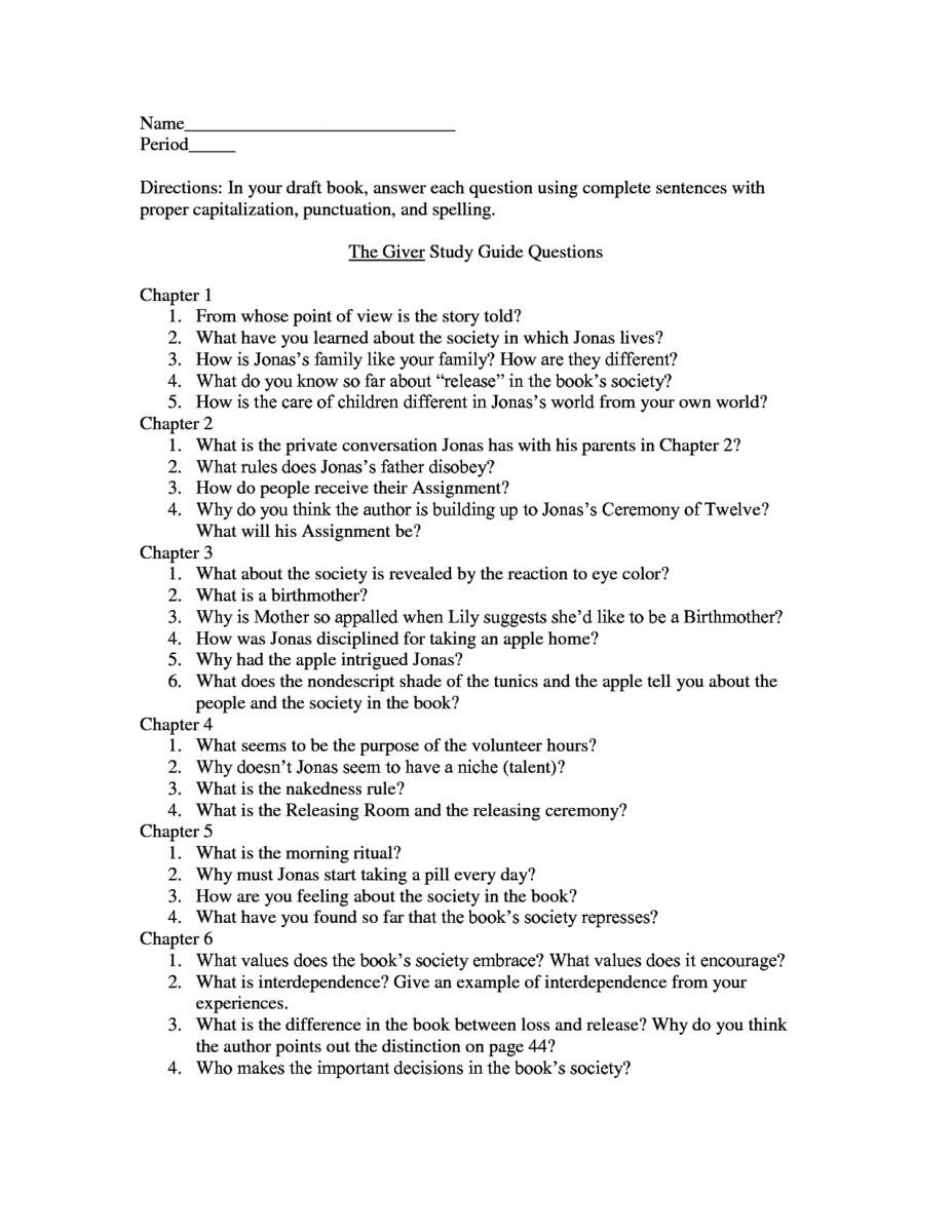 Worksheets The Giver Worksheets pthe giver study guide contains a biography of lois lowry the literature essays