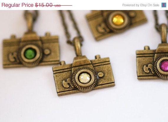 Camera Charm Necklace - Vintage Brass Jonquil Yellow Swarovski Crystal Rhinestone Film Photography. $11.25, via Etsy.