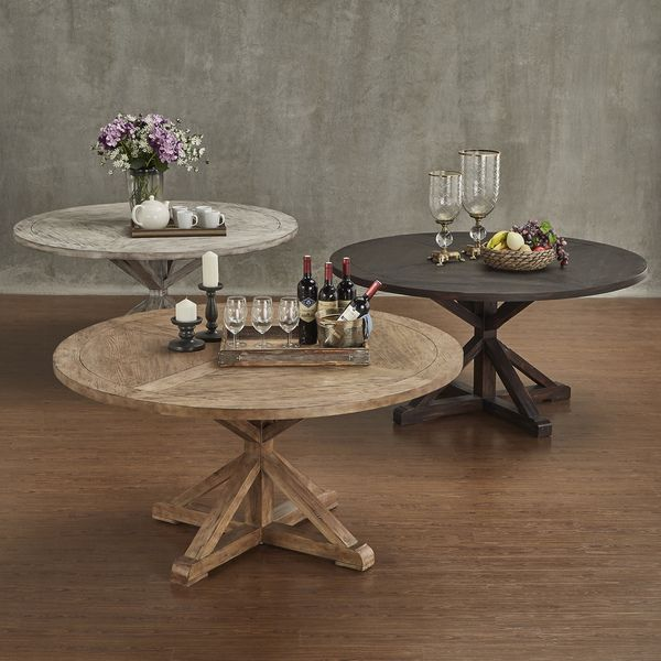 Benchwright rustic x base round pine wood dining table by for Unusual shaped dining tables