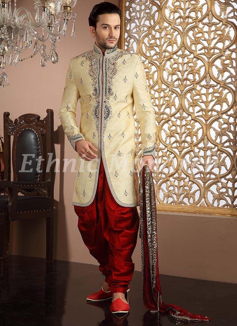 Graceful cream indo western groom dress pinterest wedding wear