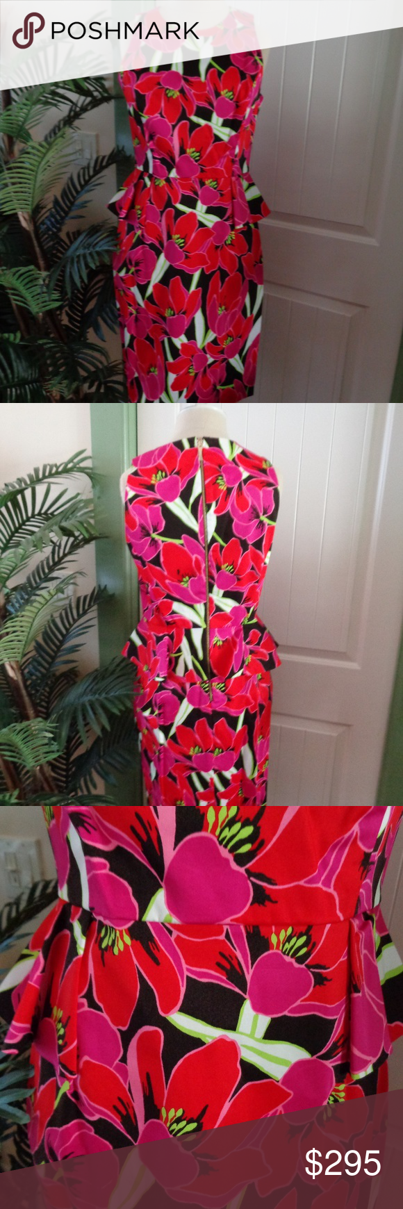 KATE SPADE Tropical Peplum Sheath Dress NWT Pretty Stunning Kate Spade New York Tropical Peplum Sheath Dress. Size 6. New with tag and original bag.  Made of cotton and elastane for a smooth fit. Gorgeous red and pink flowers adorn a black and white background. Exposed back zipper. Straight hem. Flouncy peplum at waist. Kate Spade Dresses #katespadewallpaper KATE SPADE Tropical Peplum Sheath Dress NWT Pretty Stunning Kate Spade New York Tropical Peplum Sheath Dress. Size 6. New with tag and orig #katespadewallpaper