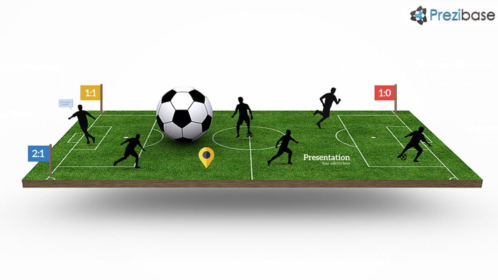 3d Soccer Stadium Pitch Field Players Silhouettes Creative Prezi