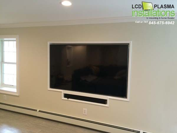 Recessed Tv With Wires Concealed Inside Wall Outlet Installed Behind Tv All Work Was Done By Lcd Plasma Installations 845 Wall Mounted Tv Tv Wall Framed Tv