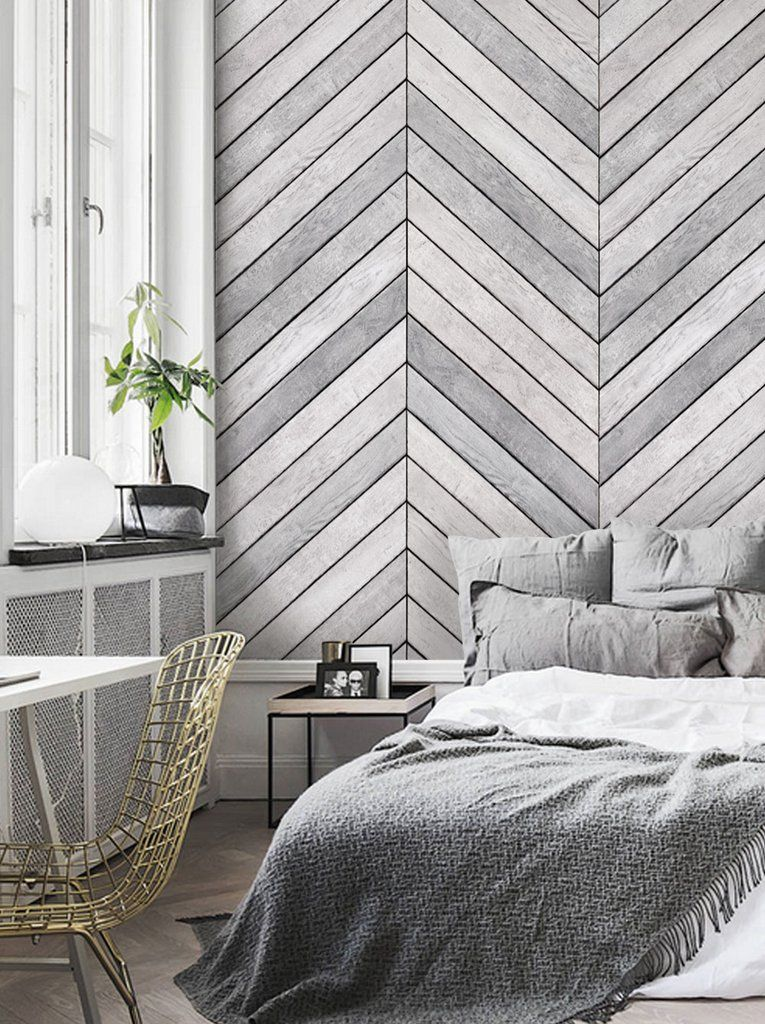 Chevron Grey White Wood Accent Mural Wall Art Wallpaper Peel And Stick Simple Shapes Wood Wallpaper Bedroom Accent Wall Bedroom Grey Accent Wall