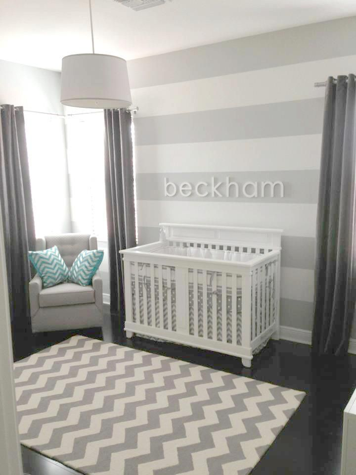 White Striped Walls With Darker Gray