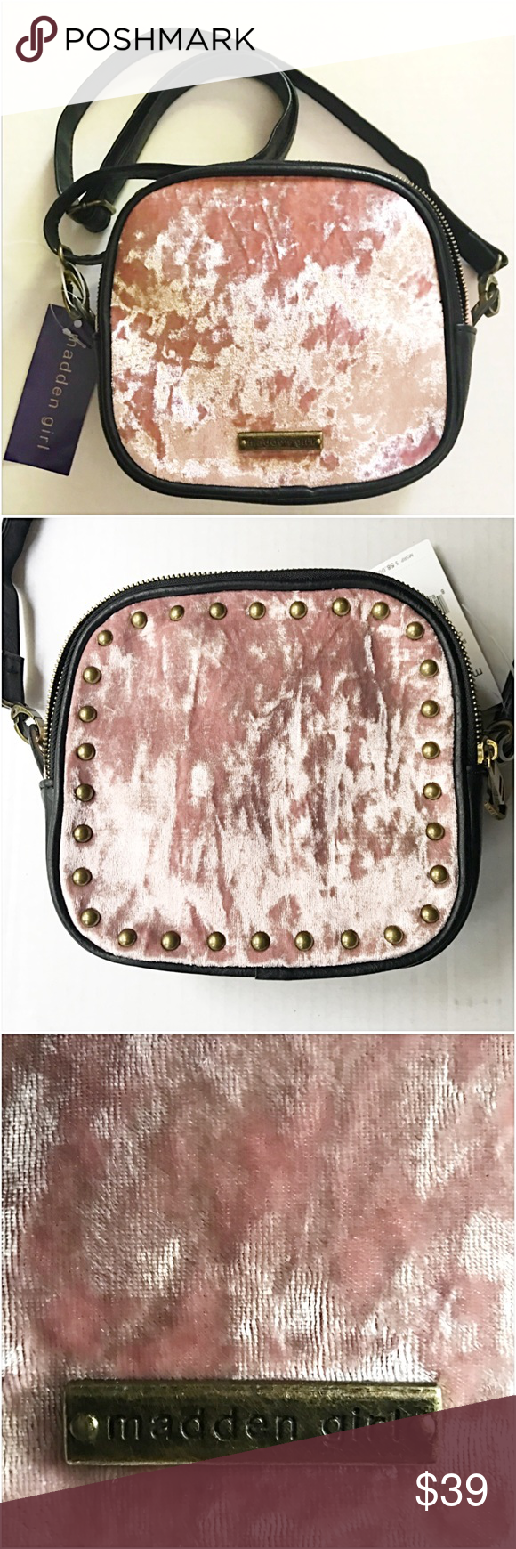 """Luscious Blush Crushed Velvet Cross Body Bag Luscious blush crushed velvet crossbody bag by Madden Girl. Measures approximately 8 x 8 x 3.5"""" Adjustable strap drop approximately 24.5"""". Double zipper two sided with one slip pocket & one zip pocket. Black faux leather trim & antique bronze studs & hardware. NWT mini medium Madden Girl Bags Crossbody Bags"""