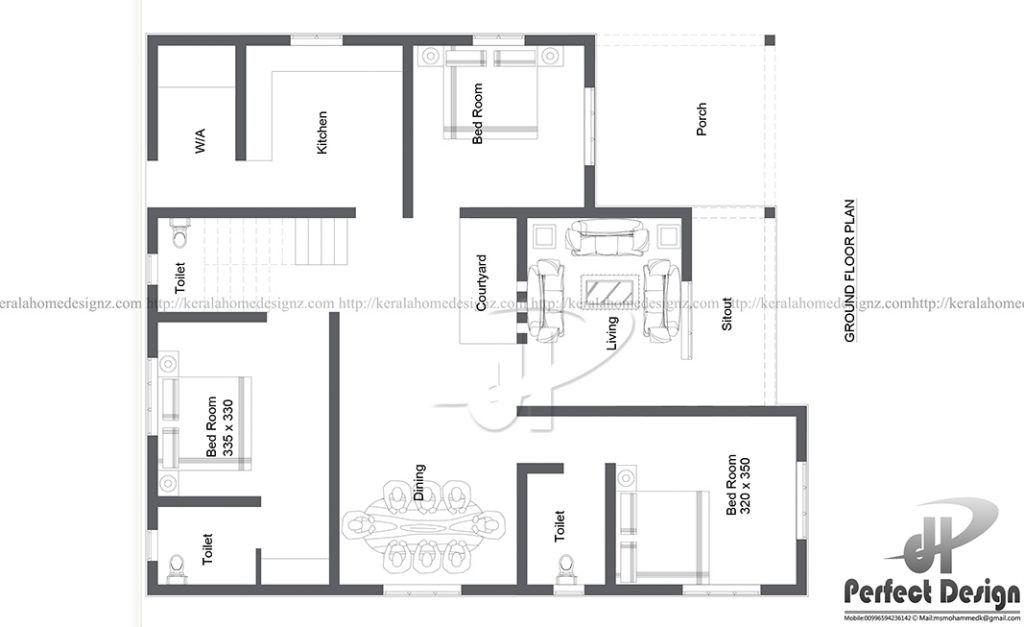 കുറഞ്ഞ ചെലവില് നിര്മ്മിച്ച 1090 സ്ക്വയര് ഫീറ്റ് 3 ബെഡ്രൂം മനോഹരമായ വീട് ഫ്രീ പ്ലാനും