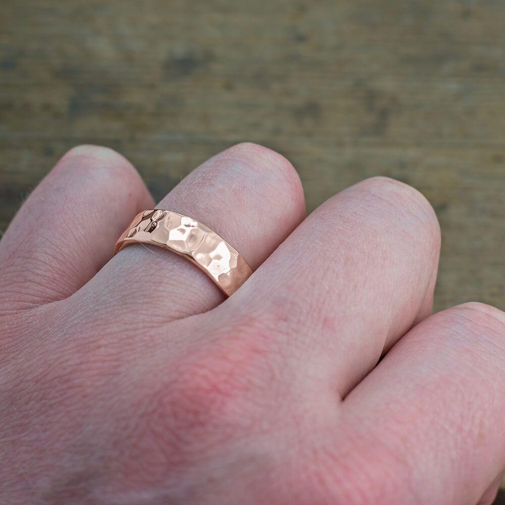 6mm 14k Rose Gold Mens Wedding Band, Hammered Polished
