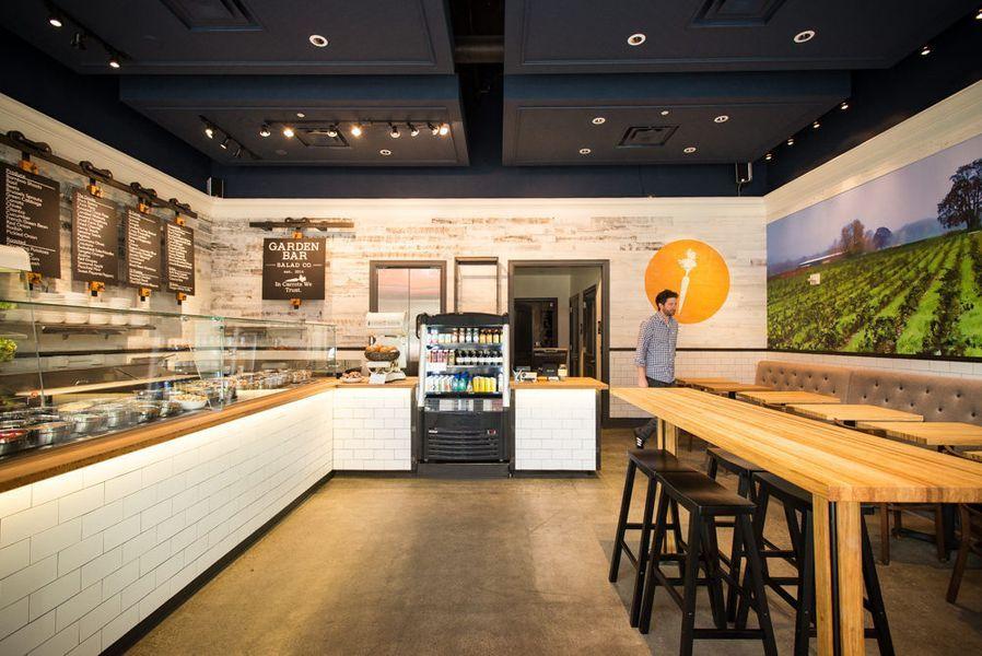 Inside fast casual salad spot garden bar open now