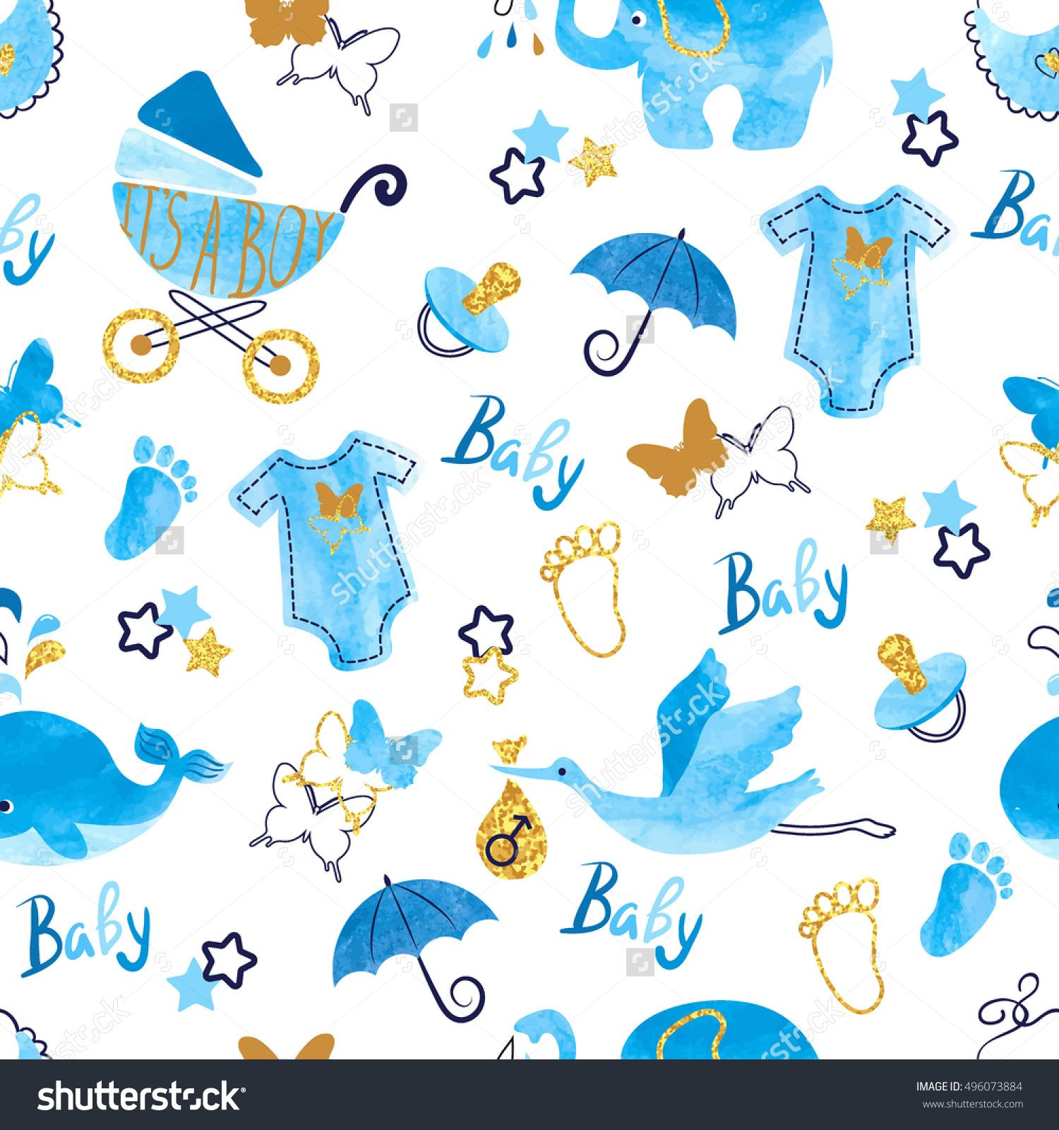 Baby shower boy seamless pattern Vector watercolor kids