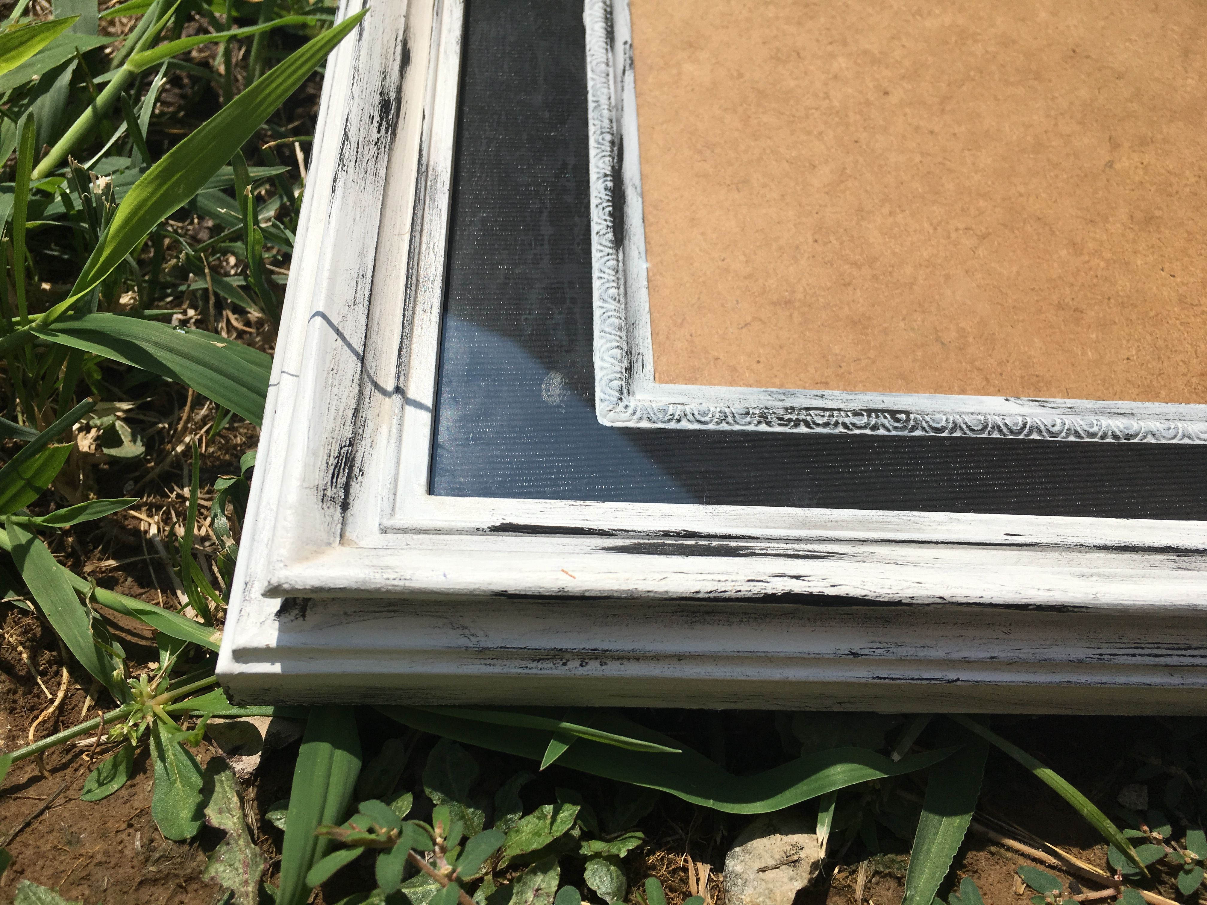 Handpainted white and black chalked picture frame rustic wall art