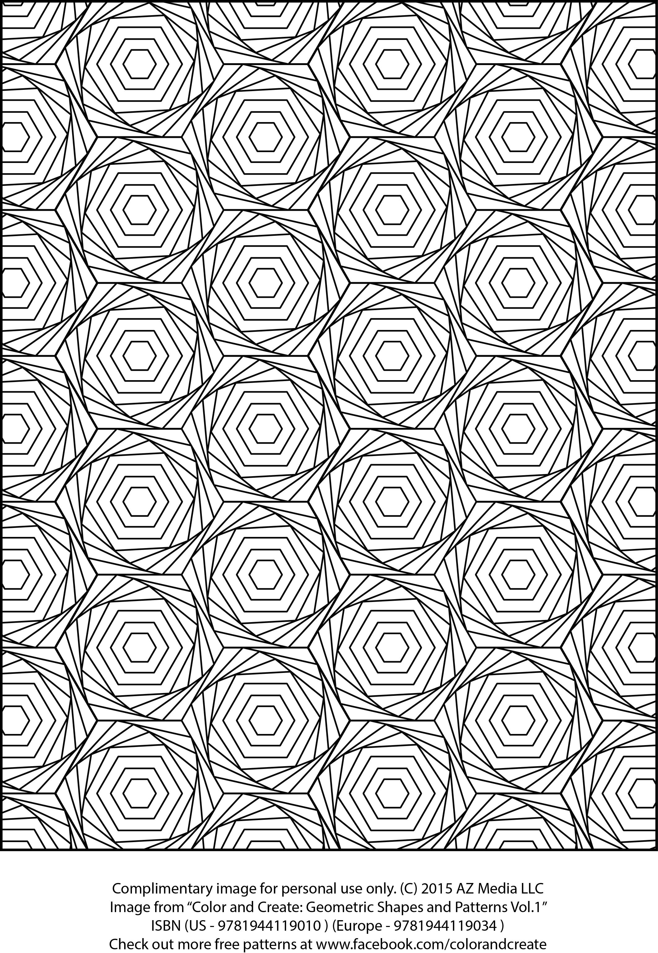 """Complimentary coloring sheet from """"Color and Create: Geometric"""