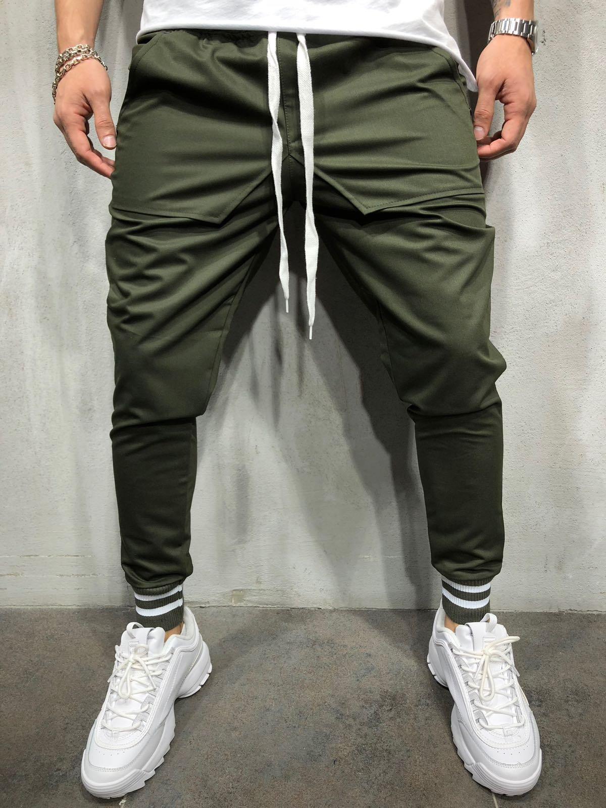 2018 New Fashion Hot Popular Mens Slim Fit Straight Leg Trousers Casual Pencil Jogger Hip Hop Pants Latest Technology Skinny Pants Pants