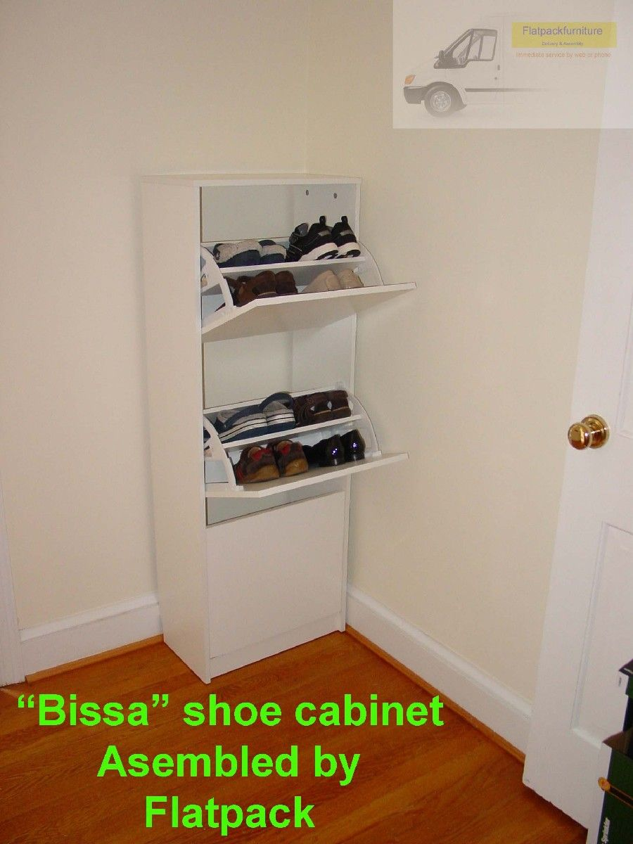 Elegant IKEA BISSA Shoe Cabinet With 3 Compartments,Article Number: 102.427.39  Assembled In