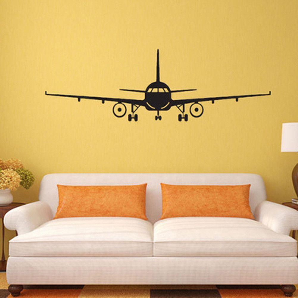 3D Airplane Wall Sticker, Mural Wall Decor, Airplane Wall Art Decal ...