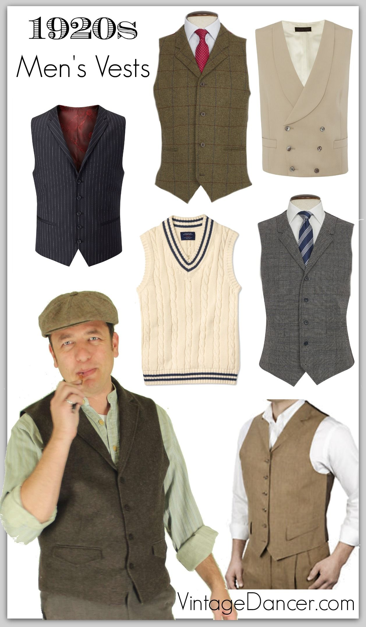 91342ef47 Roaring 20s, Great Gatsby, 1920s style men's vests and waistcoats at  Vintagedancer.com