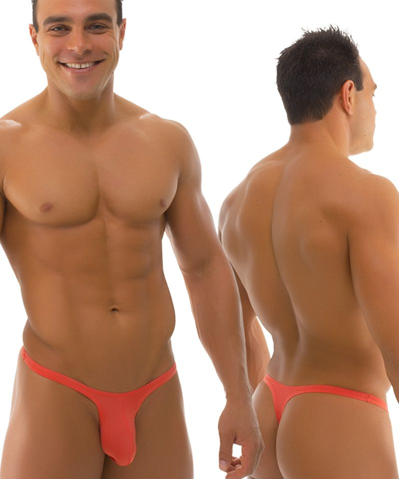 b2c9afc229879 Mens-Swimsuit-Thong-Bravura-Pouch-in-Semi-Sheer-ThinSKINZ-Apricot-by-Skinz