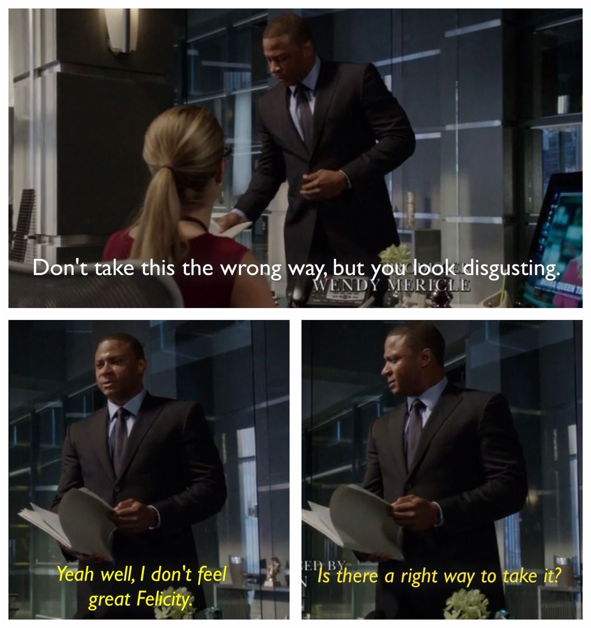 Arrow - Diggle & Felicity #Season2 ♥     Because of the sneak peek of tomorrow's episode, I thought of other Diglicity scenes. This was also one of my favourite. His face and comment, priceless.  Other suggestions?