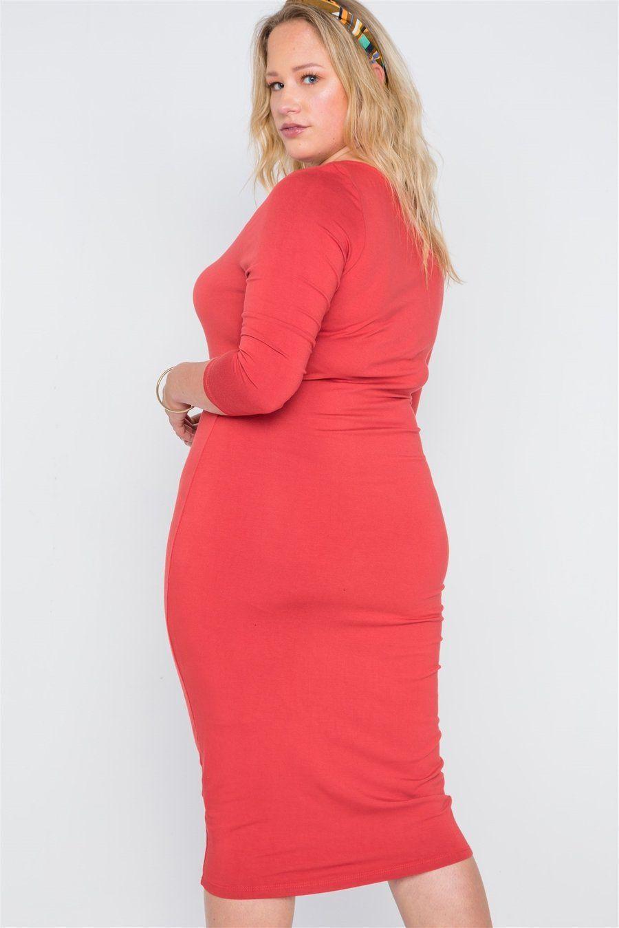 19ea45093741 Plus Size Basic Bodycon Midi Dress in 2019 | Right | Dresses ...