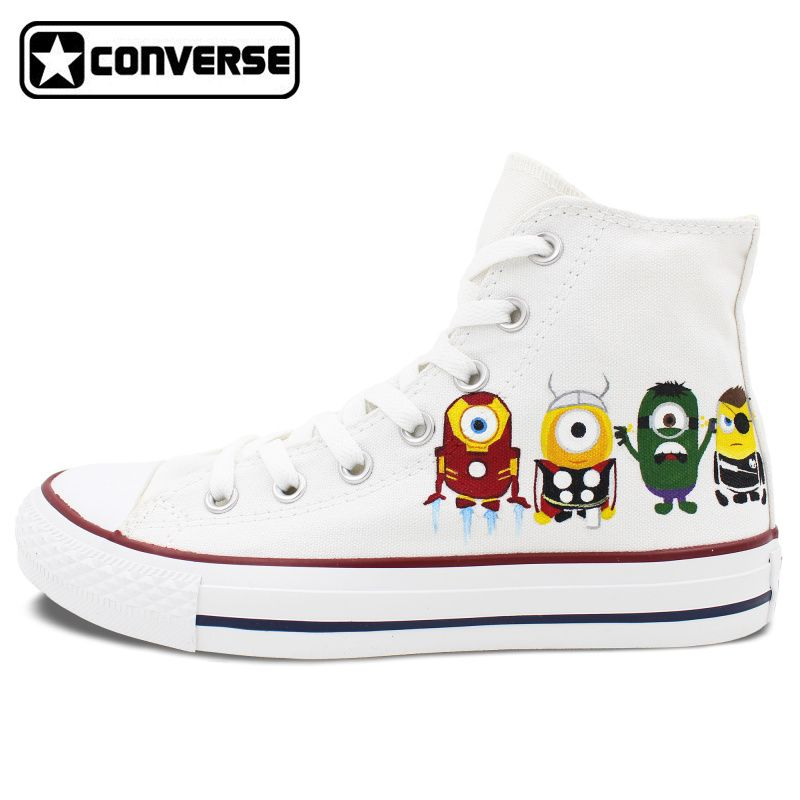 3e26a60cd8ade4 White Minions Converse All Star Boys Girls Shoes Custom Despicable Me  Design Hand Painted Canvas Sneakers Christmas Gifts   Price   US  129.00    FREE ...