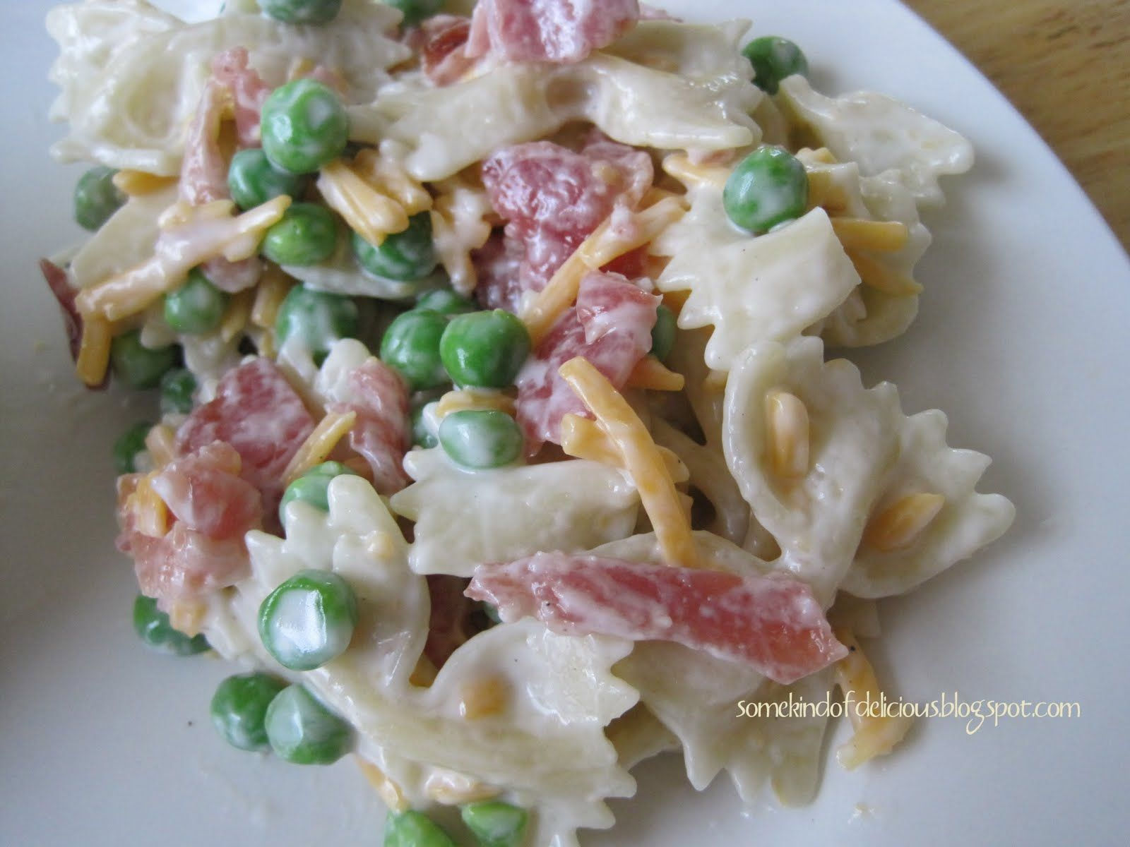 Some Kind of Delicious: Bacon & Pea Pasta Salad. Substitute mayo