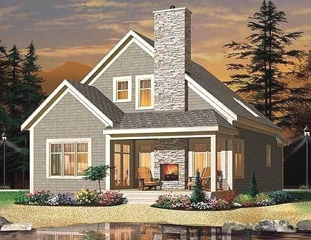 Plan 22320DR Cottage with Outdoor Fireplace