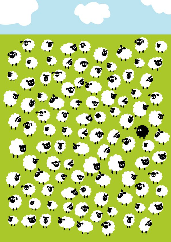 Sheep With 1 Black Sheep Wallpapers Dibujo De Ovejas