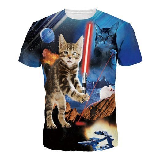 Herren Kreativen Raum Galaxie Katzen T-Shirts Jersey Training Tops Idee  Geschenk be1f46da3e