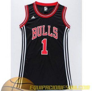 Camisetas nba mujer Chicago Bulls Rose #1 negro nueva pano