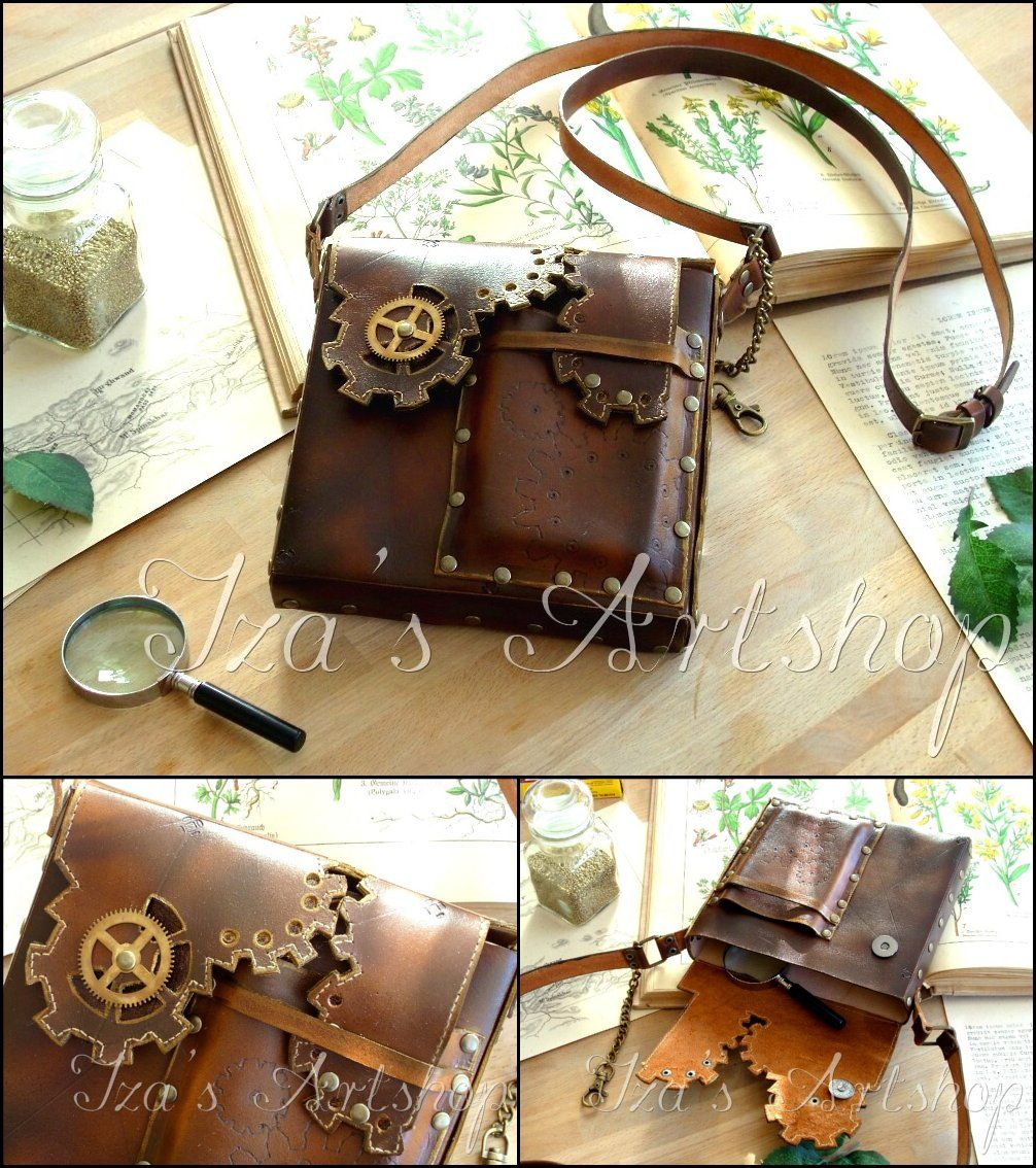 Steampunk Leather Pouch III by ~izasartshop on deviantART