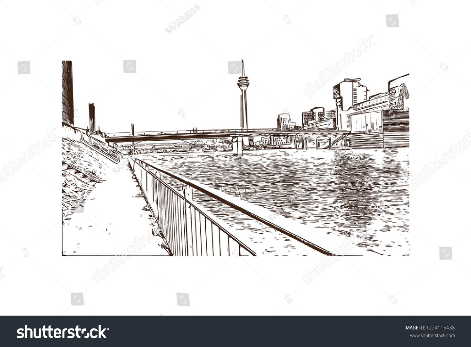 Building view with landmark of Dusseldorf is a city in western Germany known for its fashion industry and art scene. Hand drawn sketch illustration in vector. #Sponsored , #sponsored, #western#city#fashion#Germany