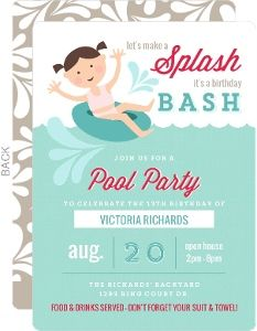 Playful Inner Tube Pool Party Invitation Beach Birthday Party