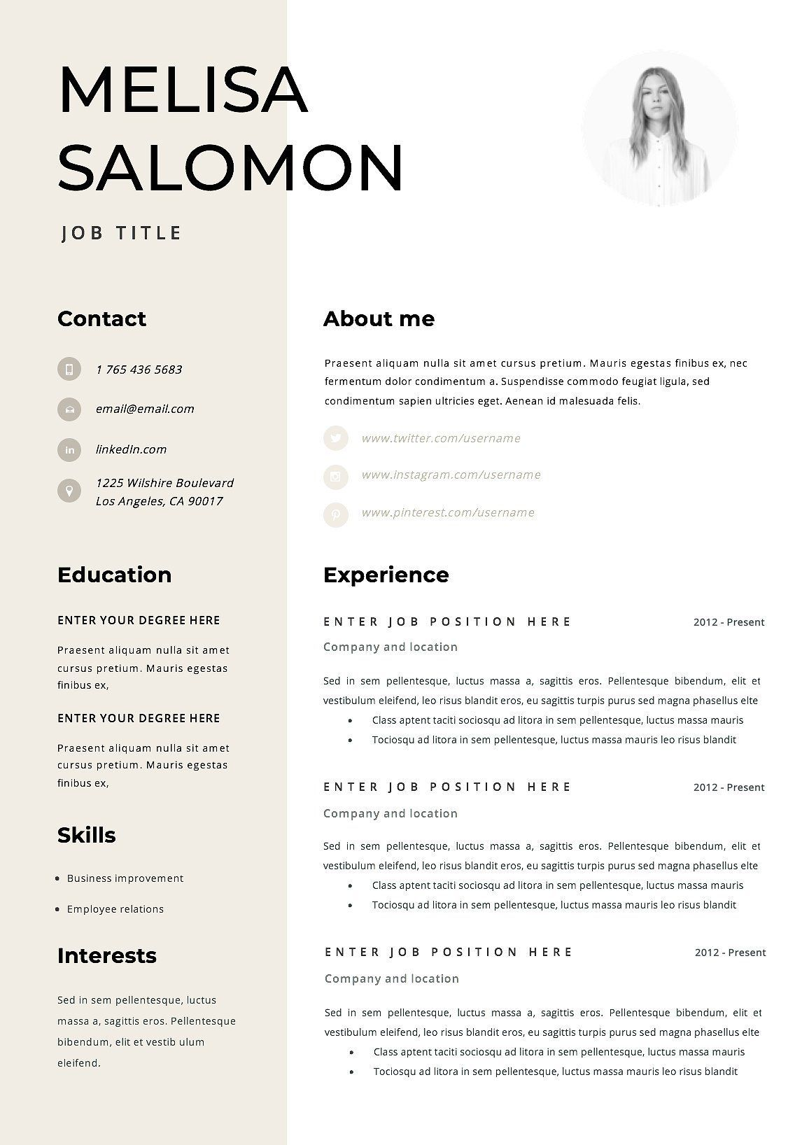 Resume Template 1 page Rome customizableyearsTEMPLATE