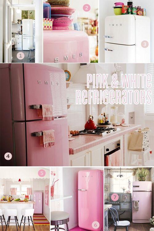 I love retro kitchen appliances. This pink Smeg fridge would be ...