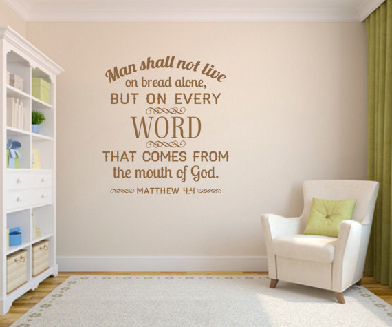 Bible Verse Man Shall Not Live No Border CODE Scripture - Vinyl wall decals bible verses