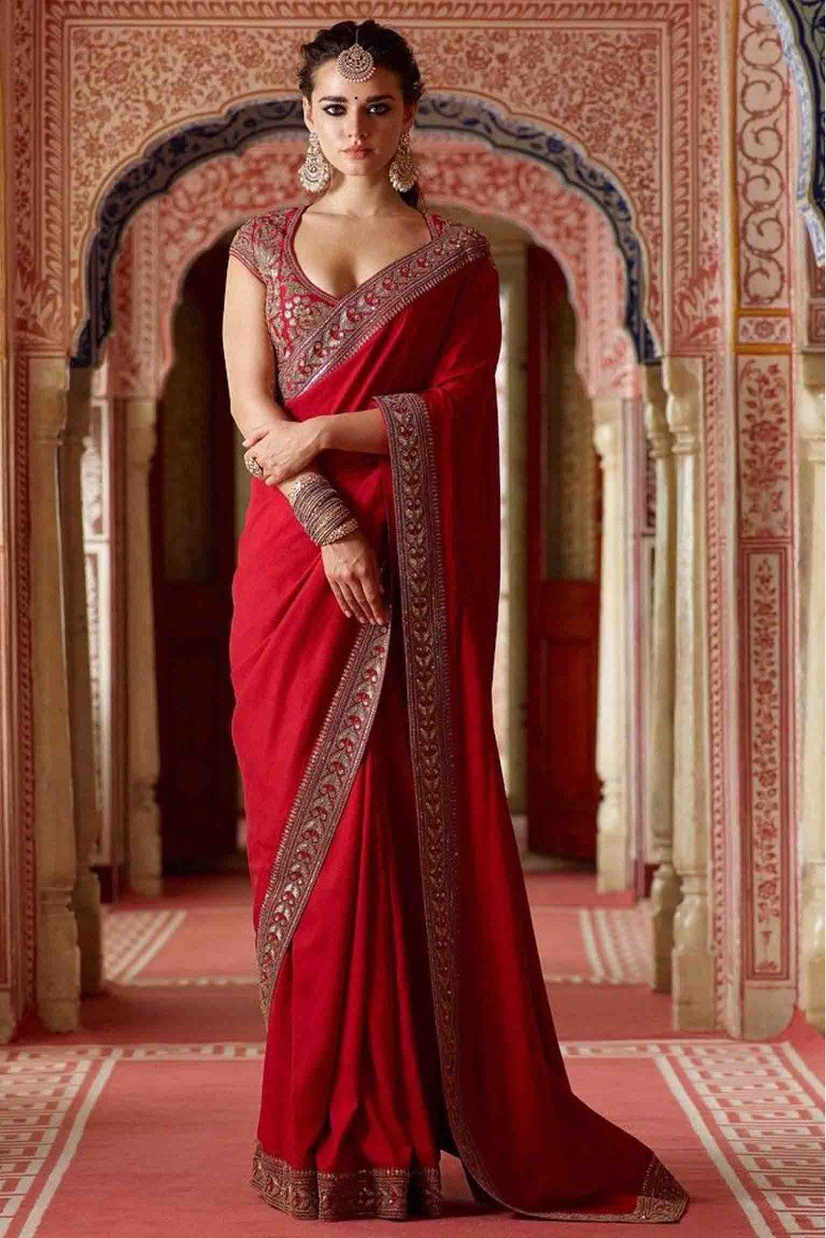 Georgette Silk Embroidered Saree In Red Colour Indian Fashion