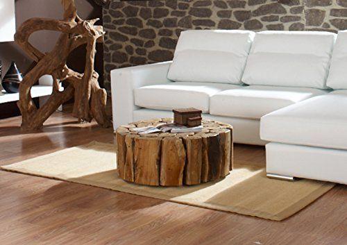Teak Couchtisch Bega XL | Wohzimmer Tisch rund Holz massiv | Wurzel ...