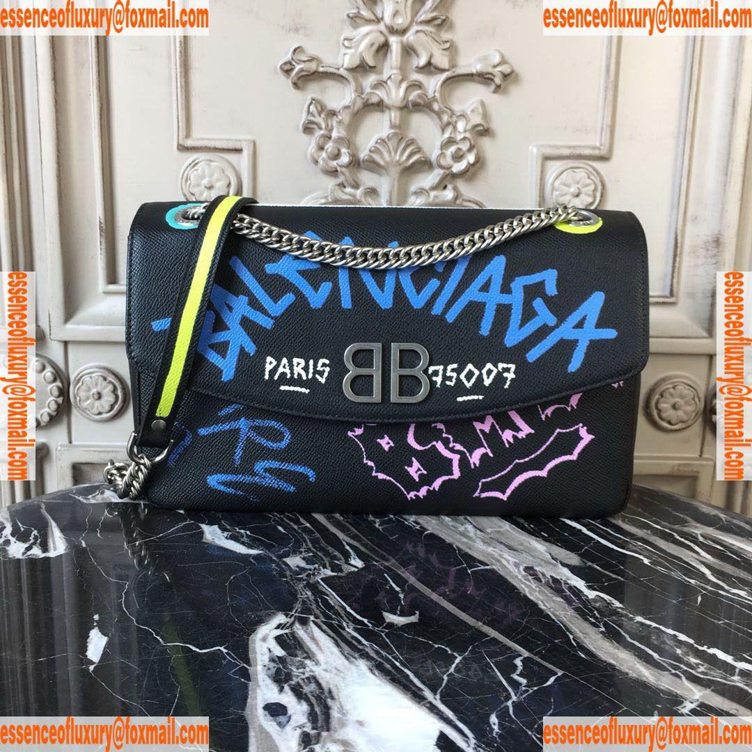 Balenciaga BB Chain Graffiti Print Leather Bag Balenciaga Luxury Bags  27x8x17CM A196PP1000 AA74677 b0203aebd1567