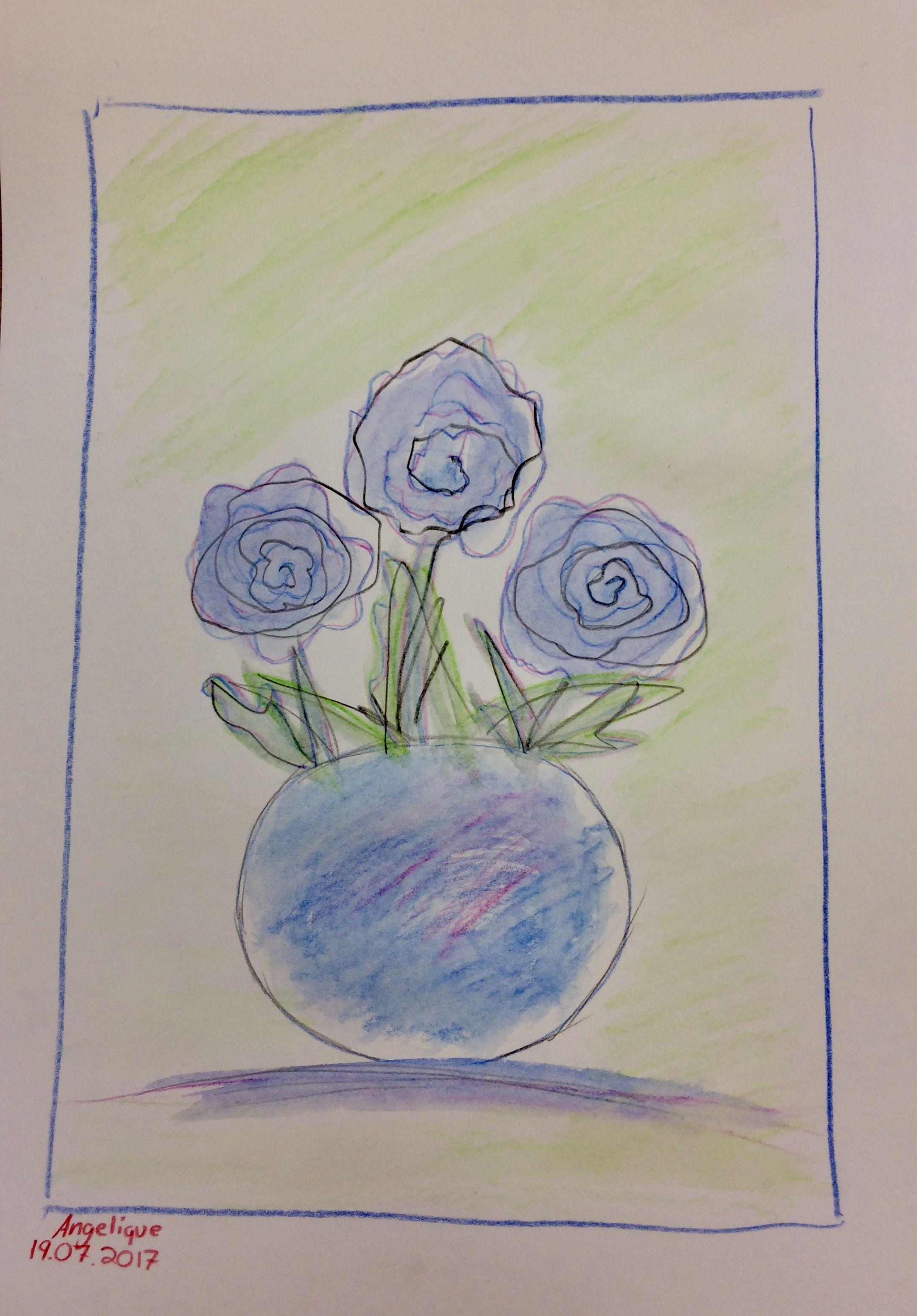 Angelique Blumen Mit Vase Aquarellstifte Teilnehmende