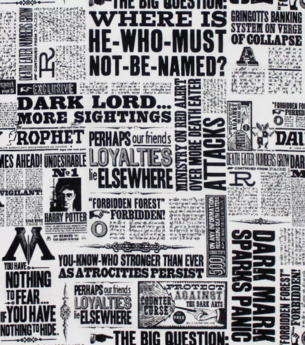 Harry Potter Cotton Fabric -Newspaper,