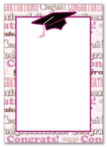 Pink border with graduation cap blank card invitationg 374512 pink border with graduation cap blank card invitation filmwisefo
