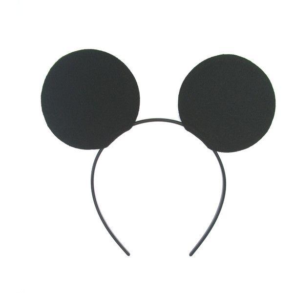 SALE - Mickey Mouse Felt Fabric Ears on Comfortable Plastic Headband -... ($3.75) ❤ liked on Polyvore