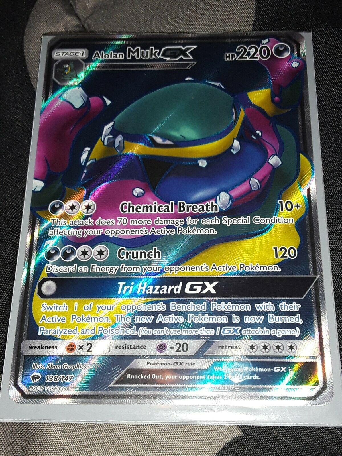 Pokemon: Alolan Muk-GX Full Art Rare 138//147 Sun /& Moon: Burning Shadows